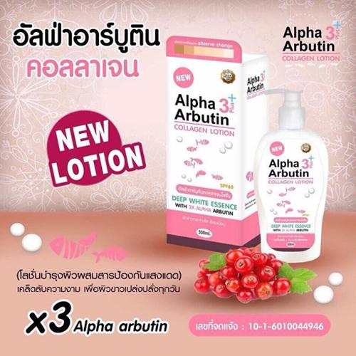 Dưỡng Thể Kích Trắng Da Alpha Arbutin Collagen Lotion 3+Plus 500ml Thái Lan