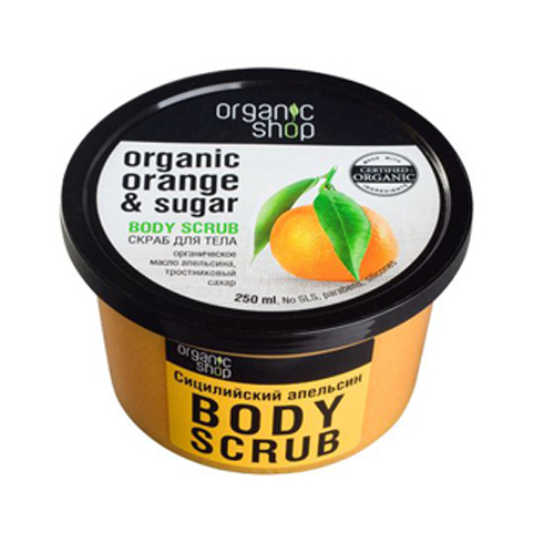Kem Tẩy Da Chết Body Chiết Xuất Cam Organic Shop 250ml Nga